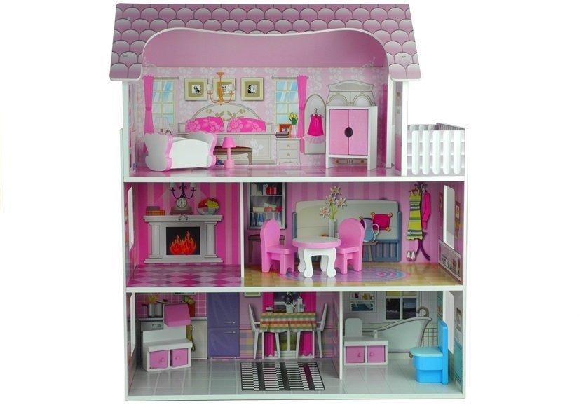 puppenhaus aus holz spielzeug f r kinder puppenhaus f r m dchen ebay. Black Bedroom Furniture Sets. Home Design Ideas