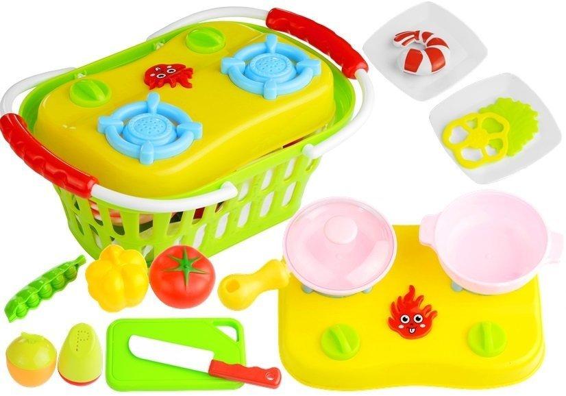 Zestaw Mała Przenośna Kuchnia w Koszyku  LeanToys pl -> Kuchnia Elektryczna Przenośna