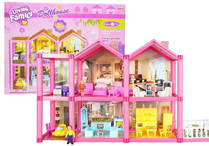 puppenhaus mit zubeh r 136 teilig m bel puppen puppenstube ebay. Black Bedroom Furniture Sets. Home Design Ideas