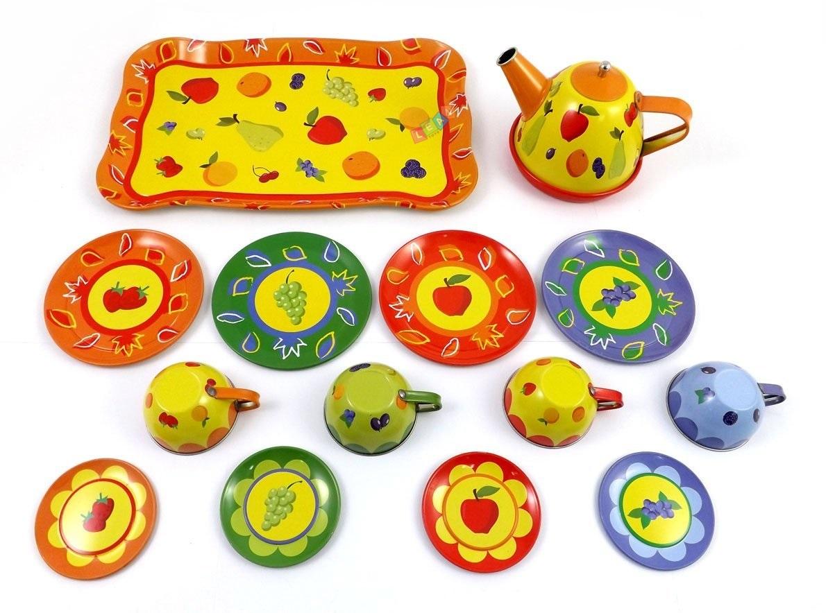 Küche Zubehör Kinder Metall Mini TeeSet mit Obst  ~ Wasserkocher Tee